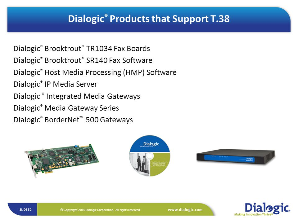 Dialogic® Products that Support T.38