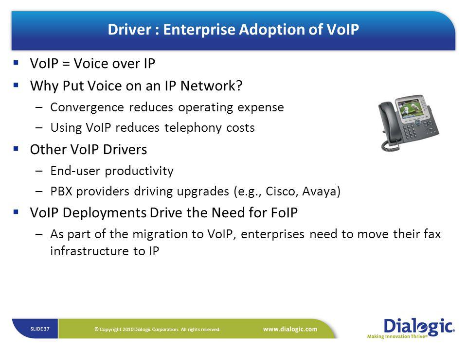 Driver : Enterprise Adoption of VoIP