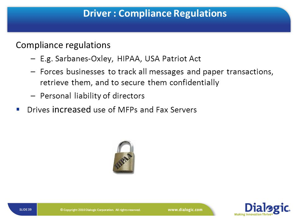 Driver : Compliance Regulations