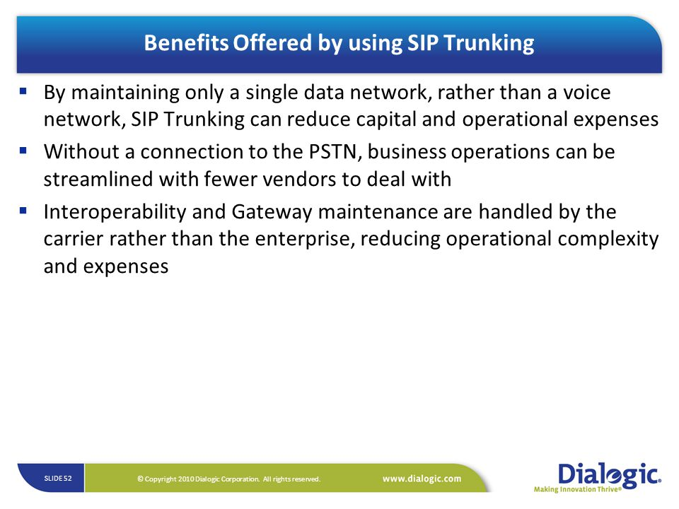 Benefits Offered by using SIP Trunking