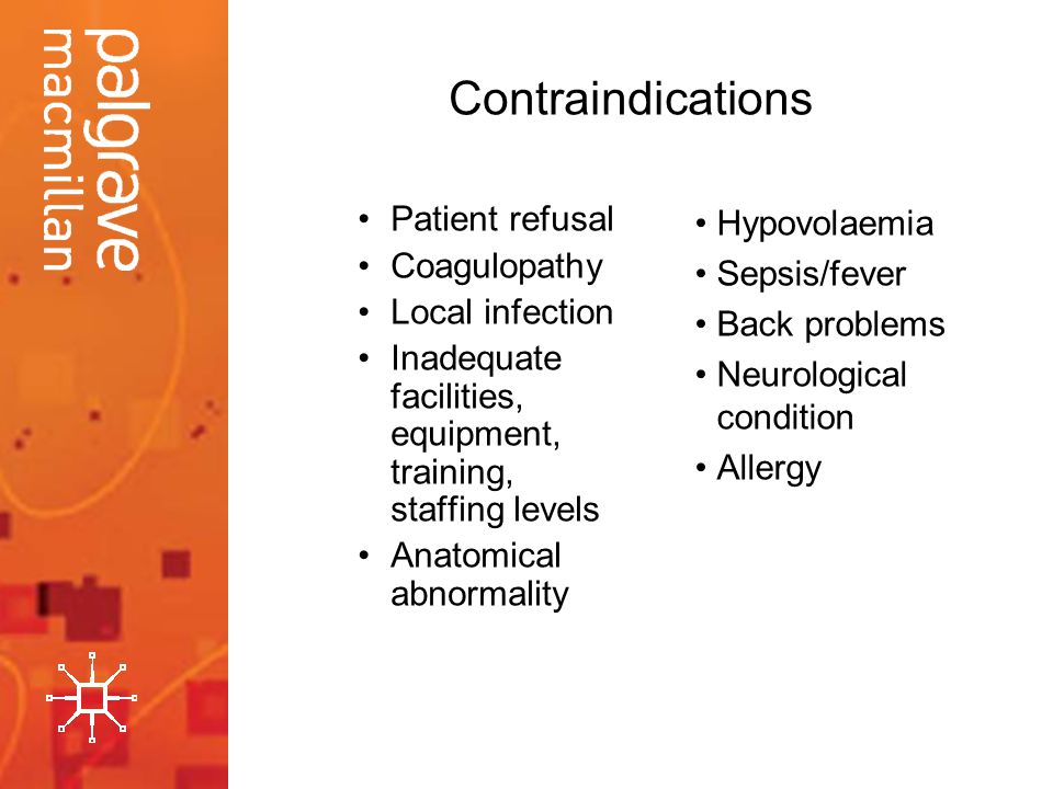 Contraindications Patient refusal Coagulopathy Local infection