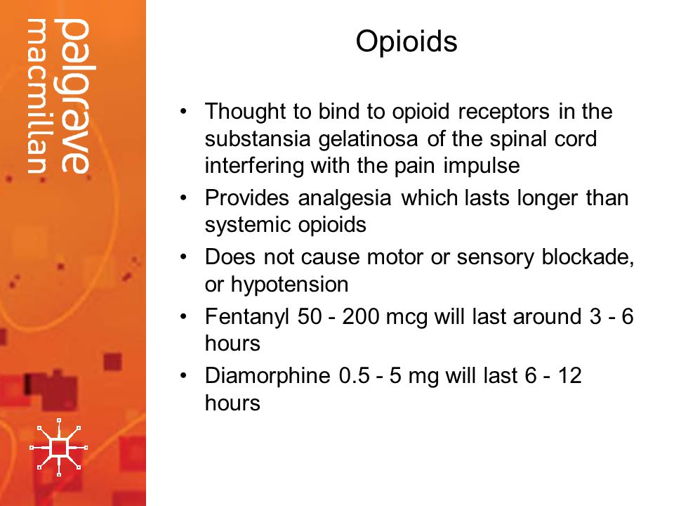 Opioids Thought to bind to opioid receptors in the substansia gelatinosa of the spinal cord interfering with the pain impulse.