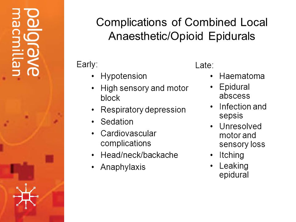 Complications of Combined Local Anaesthetic/Opioid Epidurals