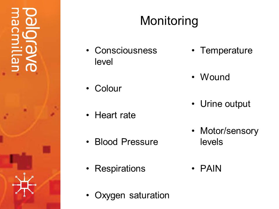 Monitoring Consciousness level Colour Heart rate Blood Pressure