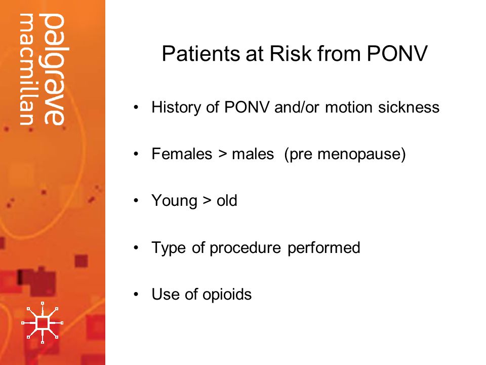 Patients at Risk from PONV