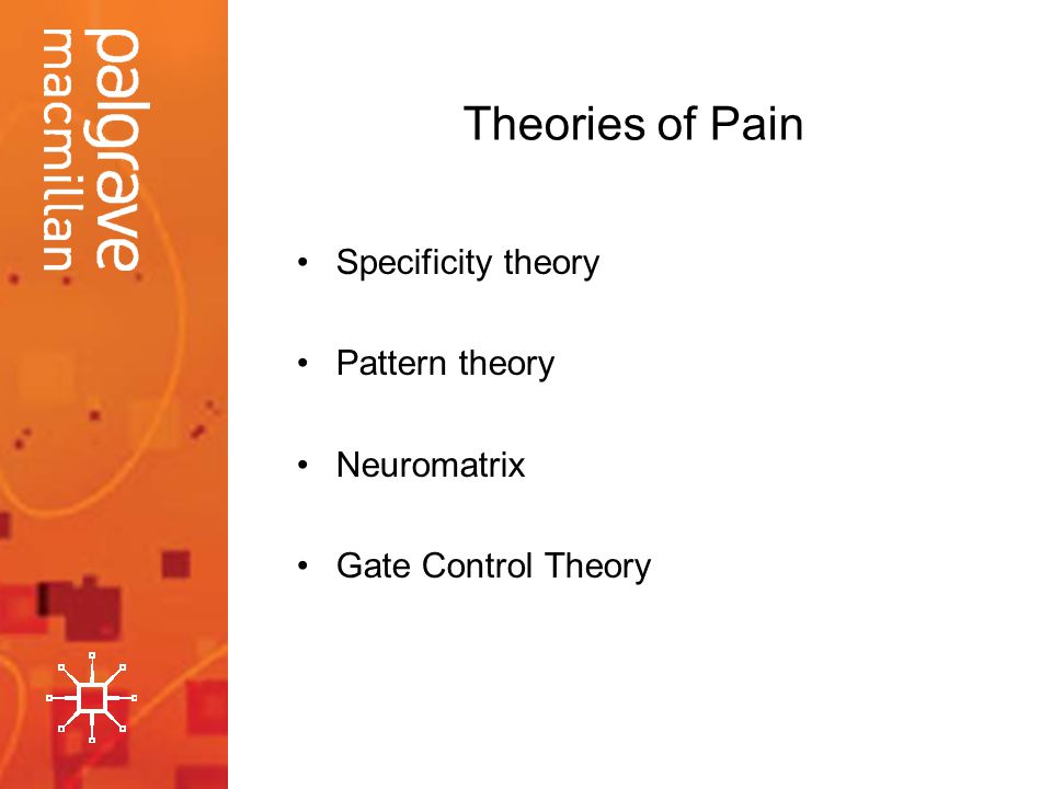 Theories of Pain Specificity theory Pattern theory Neuromatrix