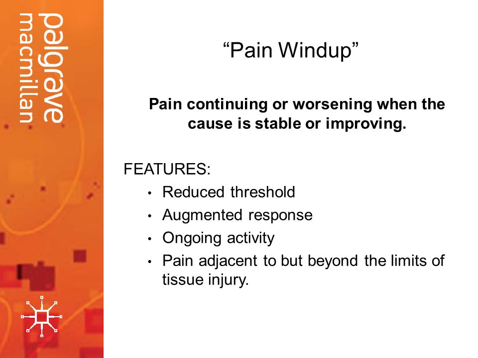 Pain continuing or worsening when the cause is stable or improving.
