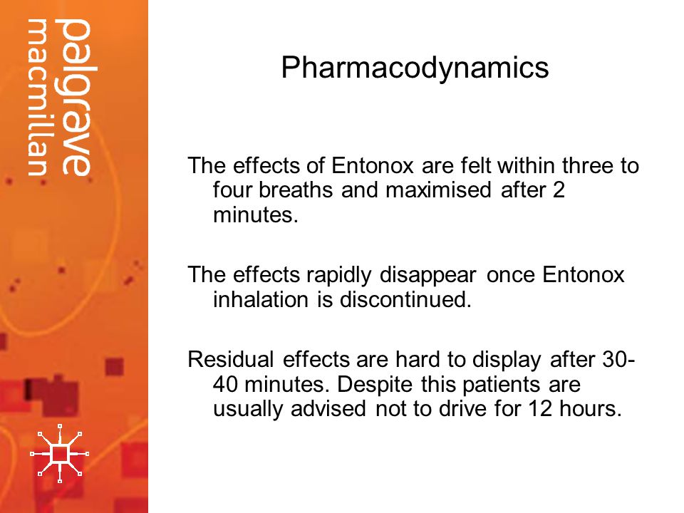 Pharmacodynamics The effects of Entonox are felt within three to four breaths and maximised after 2 minutes.