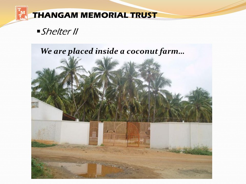 Shelter II THANGAM MEMORIAL TRUST We are placed inside a coconut farm…