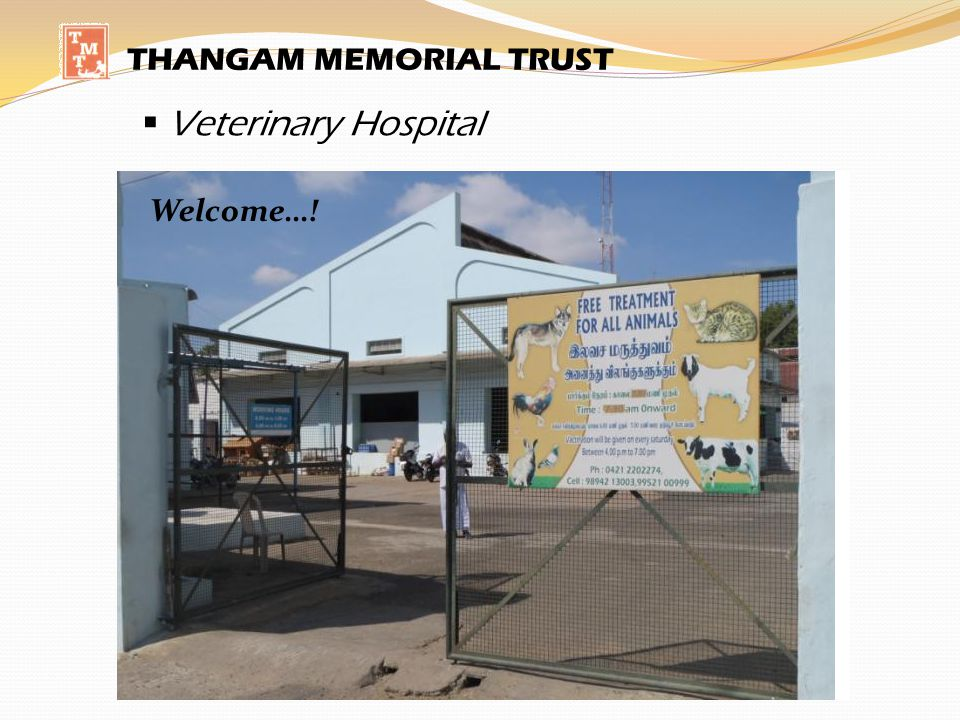Veterinary Hospital THANGAM MEMORIAL TRUST A working day… Welcome…!