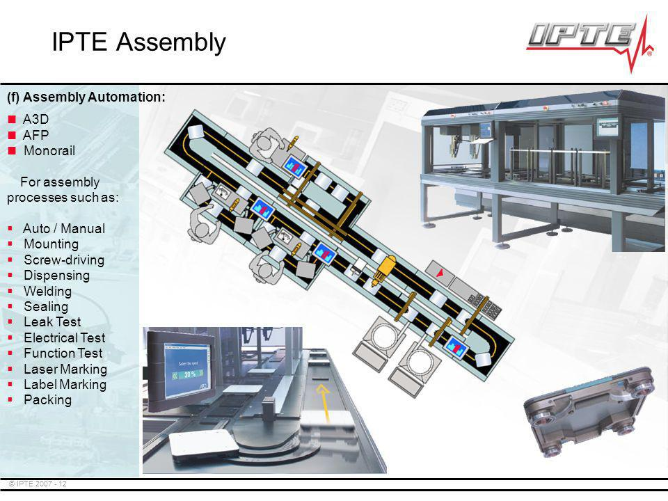 IPTE Assembly (f) Assembly Automation: A3D AFP Monorail