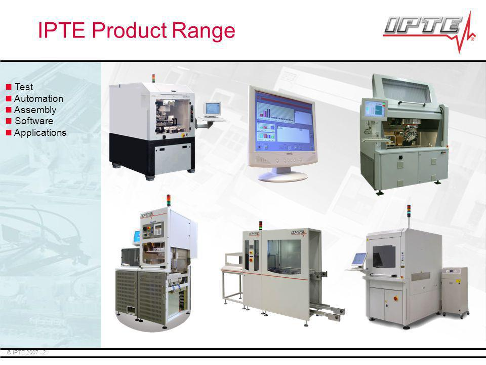 IPTE Product Range Test Automation Assembly Software Applications
