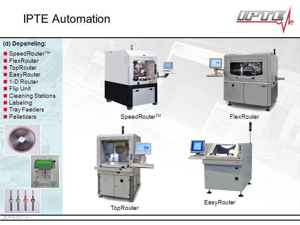 IPTE Automation (d) Depaneling: SpeedRouterTM FlexRouter SpeedRouter™