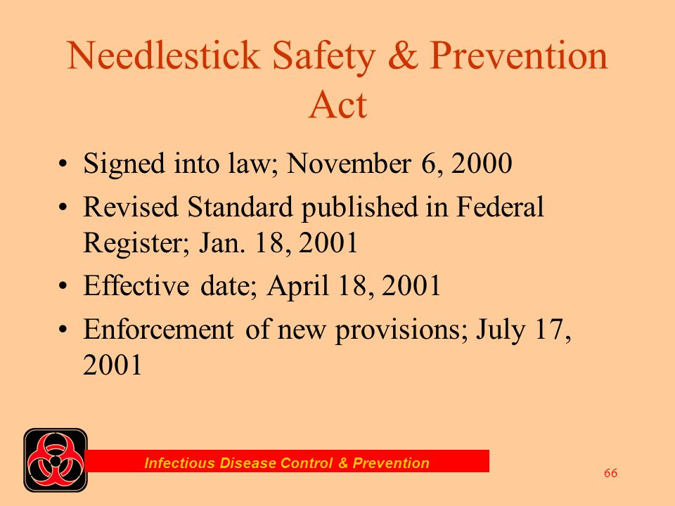 Needlestick Safety & Prevention Act