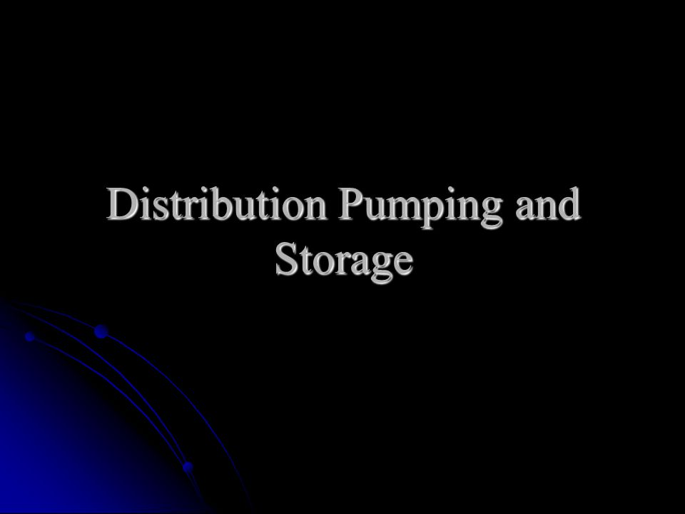Distribution Pumping and Storage