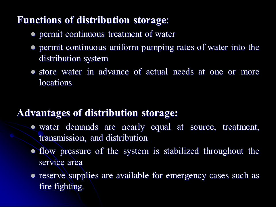 Functions of distribution storage: