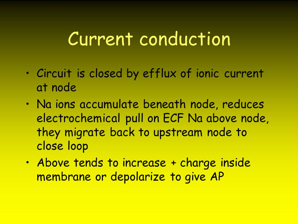 Current conduction Circuit is closed by efflux of ionic current at node.