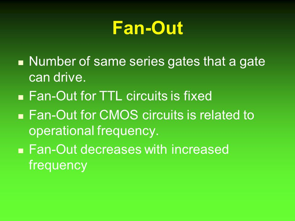 Fan-Out Number of same series gates that a gate can drive.
