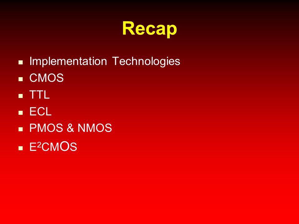 Recap Implementation Technologies CMOS TTL ECL PMOS & NMOS E2CMOS