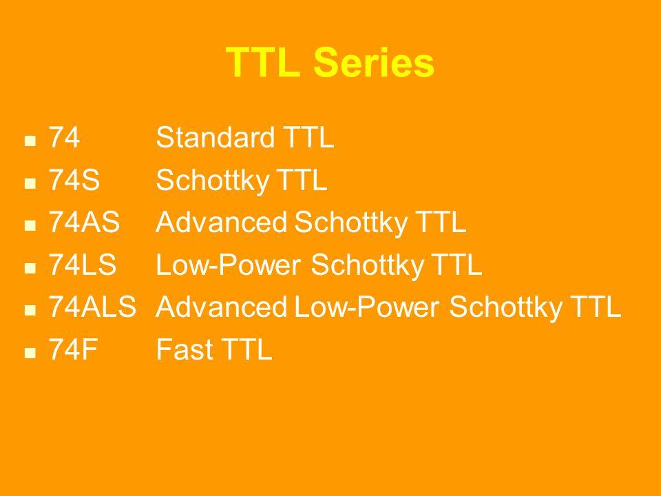TTL Series 74 Standard TTL 74S Schottky TTL 74AS Advanced Schottky TTL