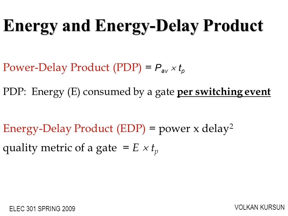 Energy and Energy-Delay Product