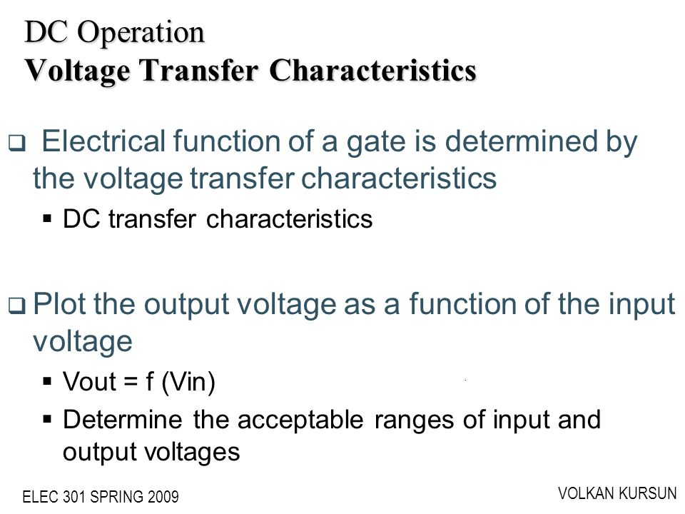 DC Operation Voltage Transfer Characteristics