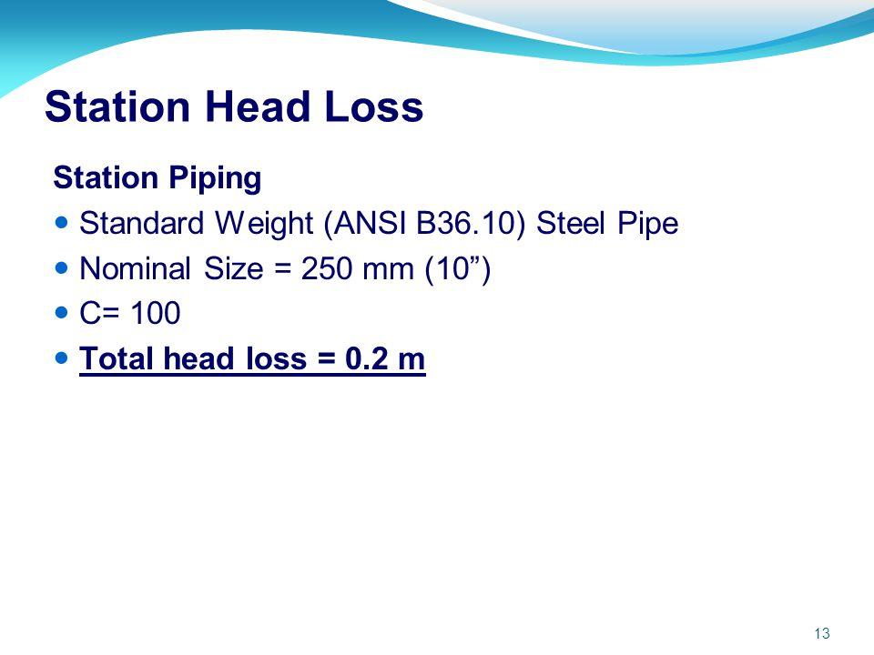 Station Head Loss Station Piping