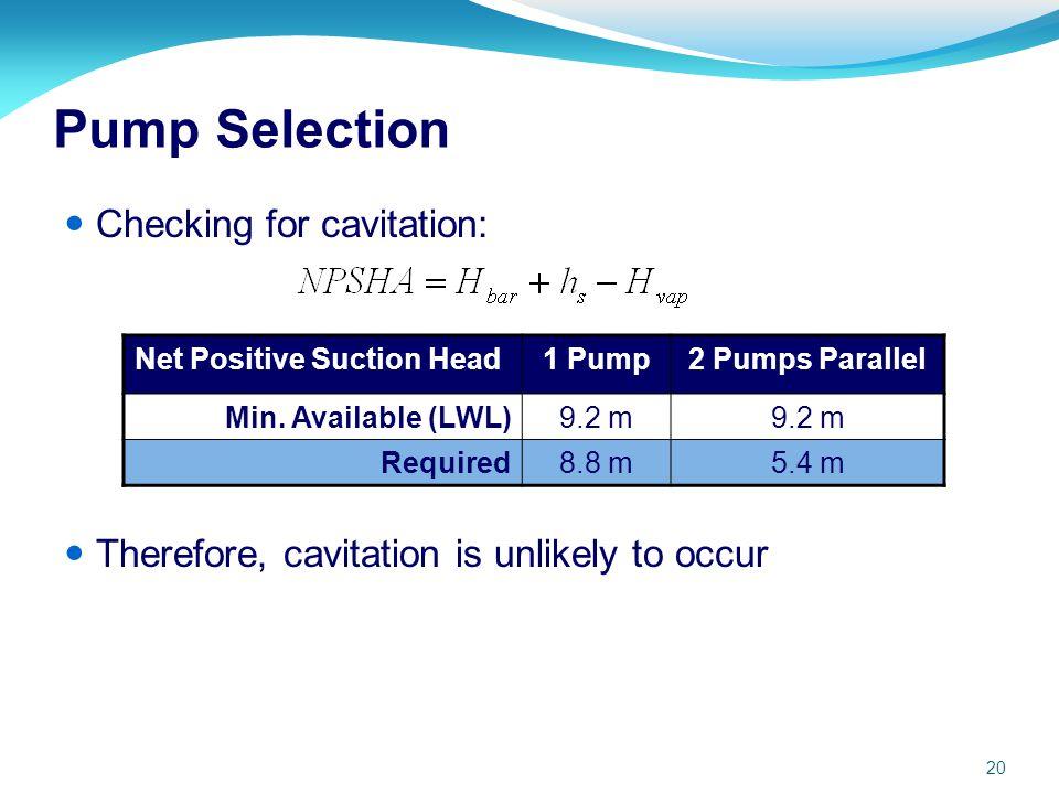 Pump Selection Checking for cavitation: