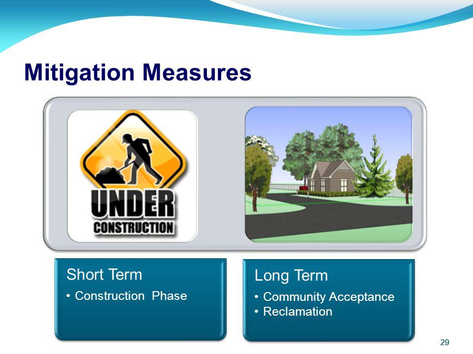 Mitigation Measures 29 29 Short Term Construction Phase Long Term