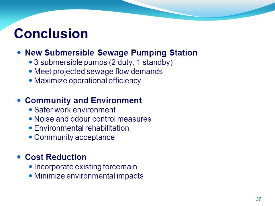 Conclusion New Submersible Sewage Pumping Station