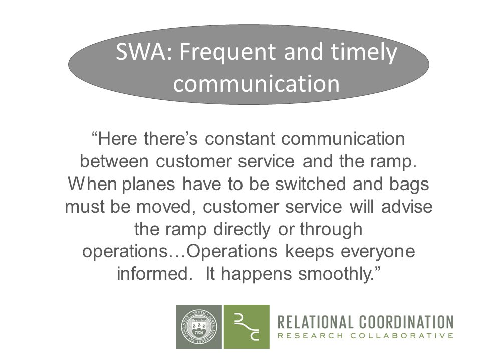 SWA: Frequent and timely communication