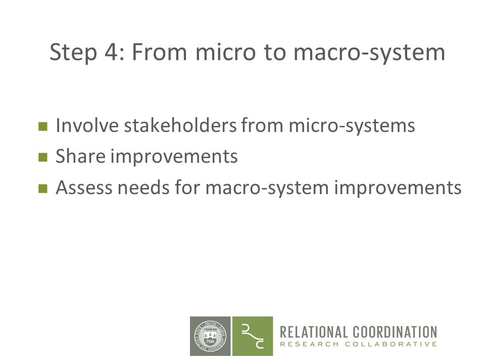 Step 4: From micro to macro-system