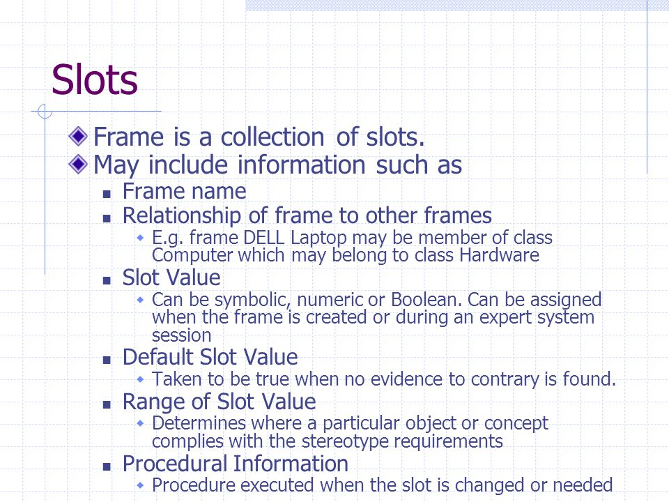 Slots Frame is a collection of slots. May include information such as