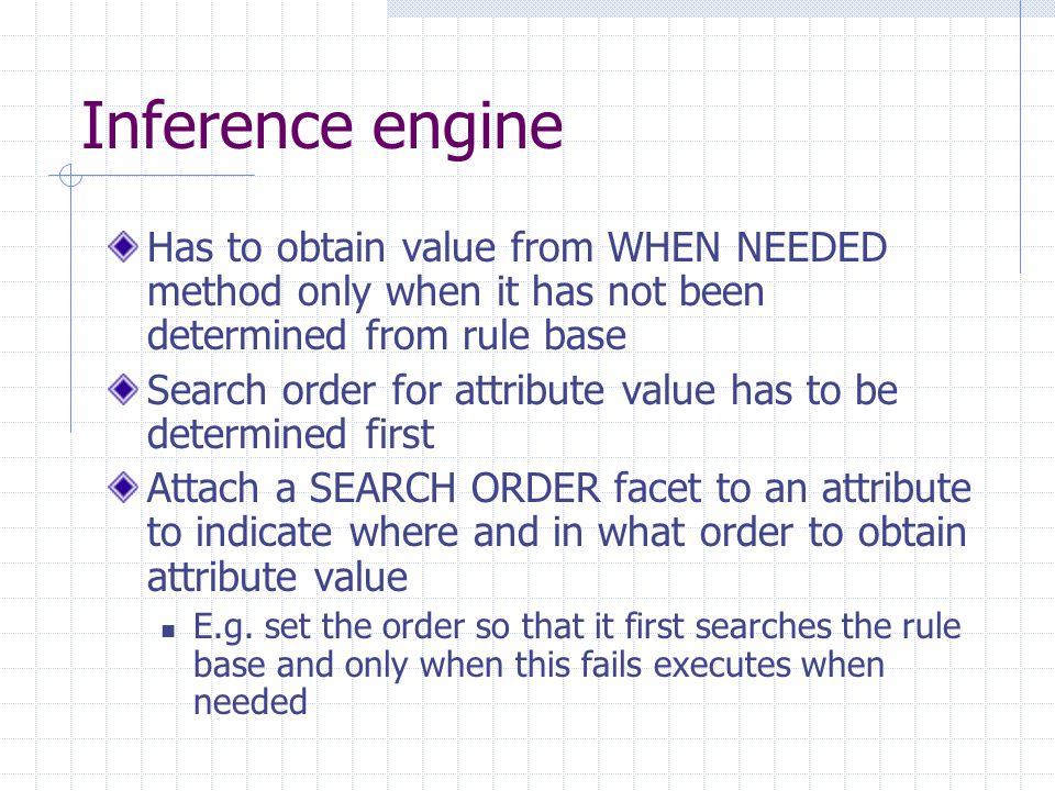 Inference engine Has to obtain value from WHEN NEEDED method only when it has not been determined from rule base.