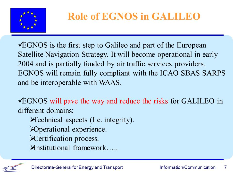 Role of EGNOS in GALILEO