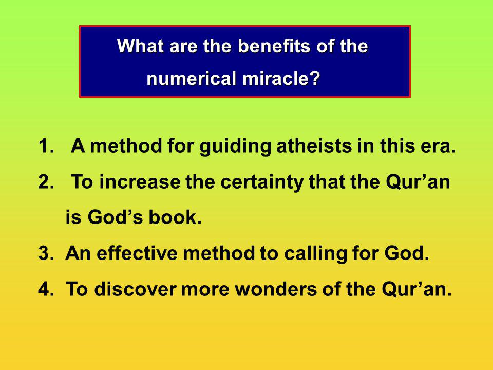 What are the benefits of the numerical miracle