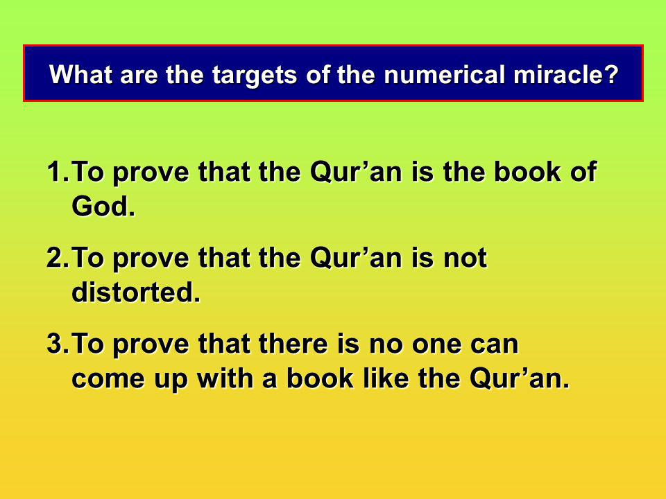 What are the targets of the numerical miracle