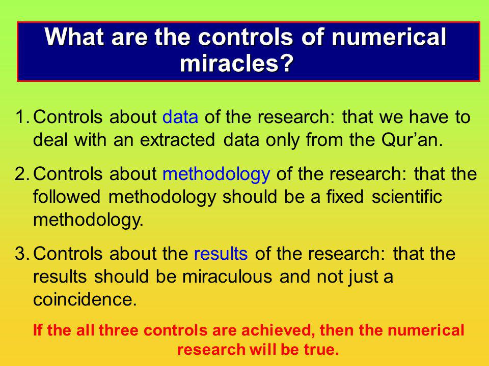 What are the controls of numerical miracles