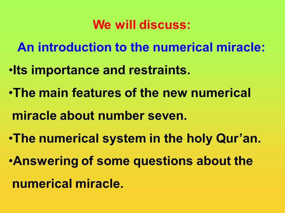 An introduction to the numerical miracle: