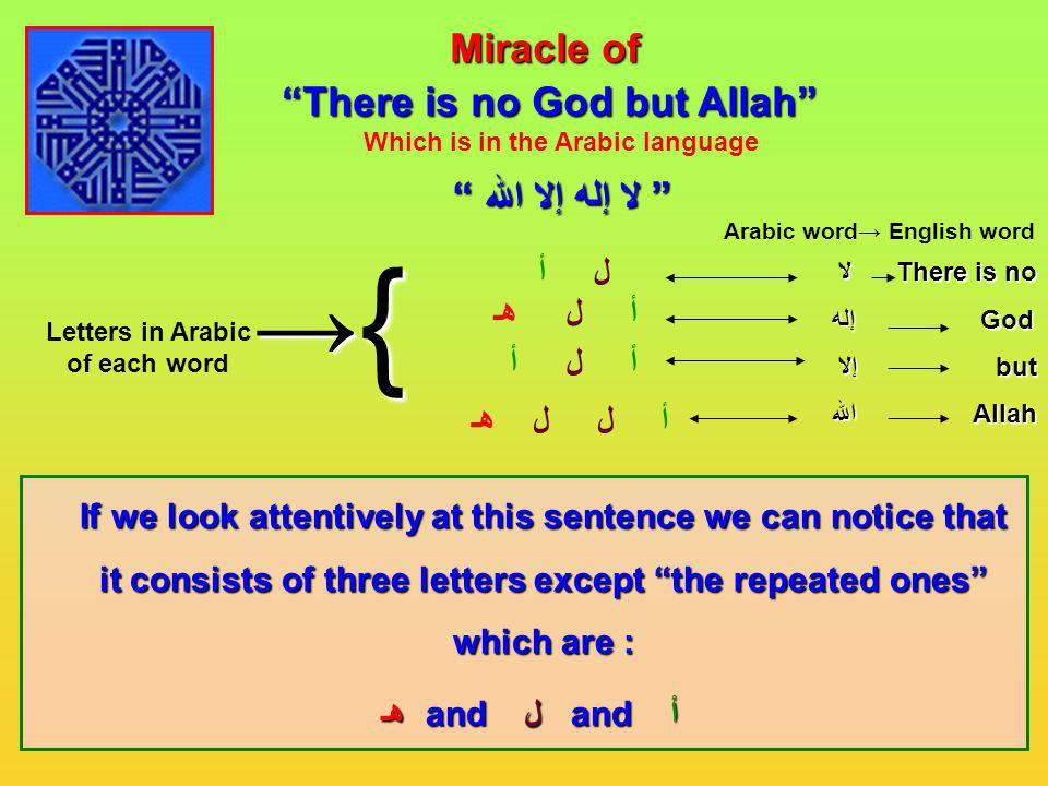 { → Miracle of There is no God but Allah لا إله إلا الله ل أ