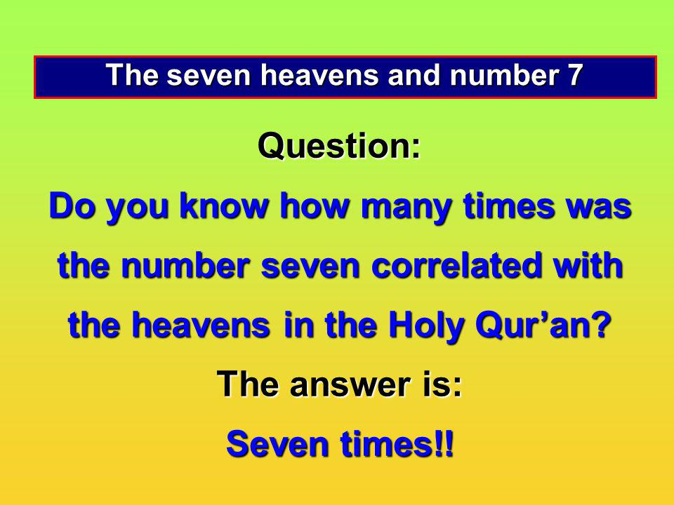 The seven heavens and number 7
