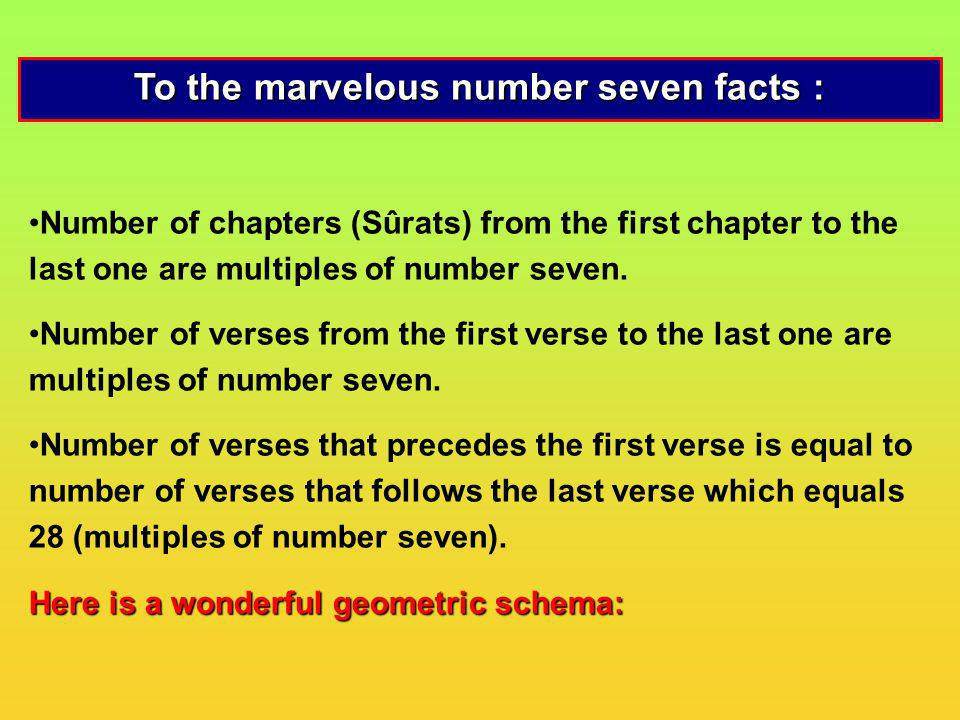 To the marvelous number seven facts :