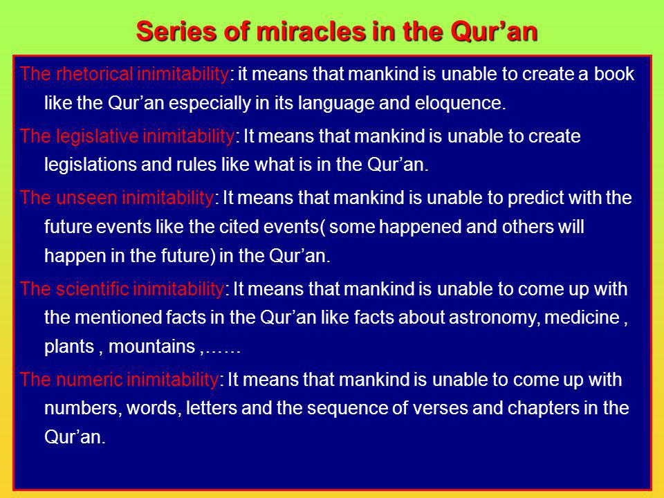 Series of miracles in the Qur'an