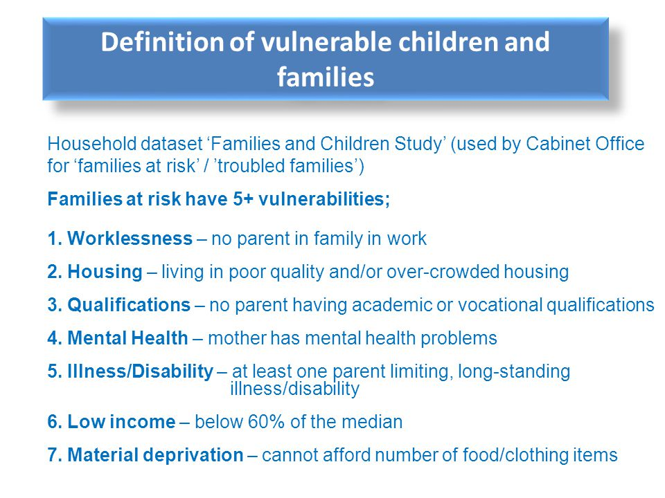 Definition of vulnerable children and families
