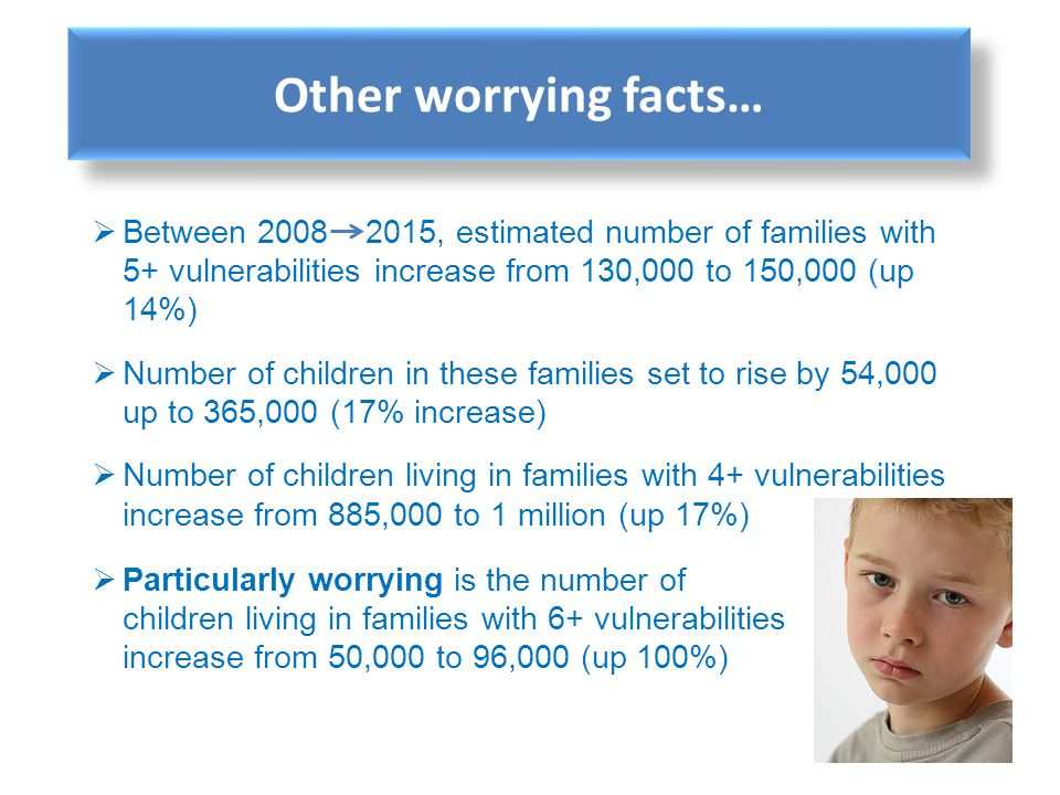 Other worrying facts… Between 2008 2015, estimated number of families with 5+ vulnerabilities increase from 130,000 to 150,000 (up 14%)