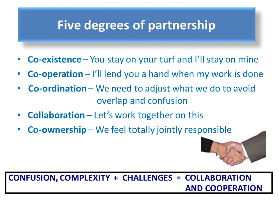 Five degrees of partnership