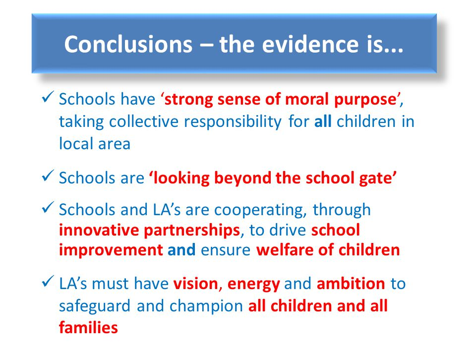 Conclusions – the evidence is...