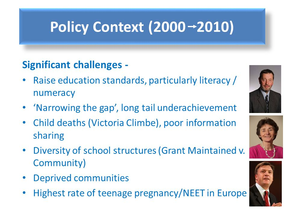 Policy Context (2000 2010) Significant challenges -