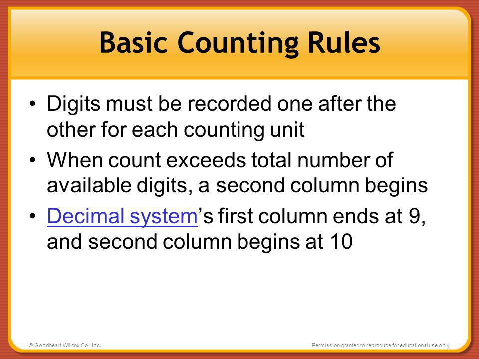 Basic Counting Rules Digits must be recorded one after the other for each counting unit.