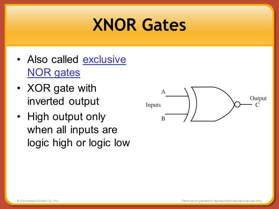 XNOR Gates Also called exclusive NOR gates